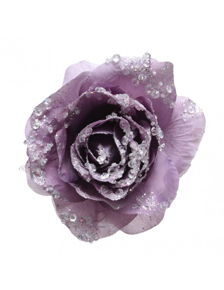 Fleur rose artificielle à clipser paillette violet DEO4063491Decoris