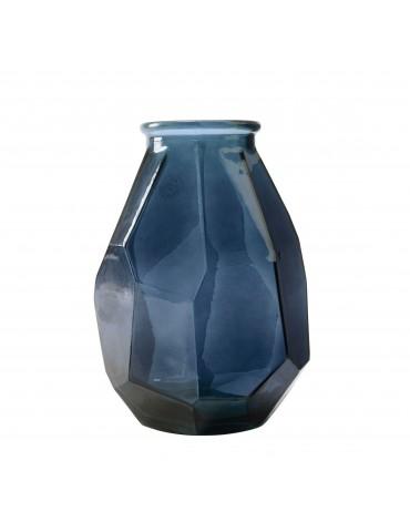 Vase en verre bleu recyclé à facette DVA4063504Decoris