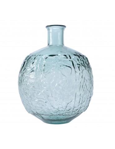 Vase boule en verre bleu recyclé motif relief DVA4063506Decoris