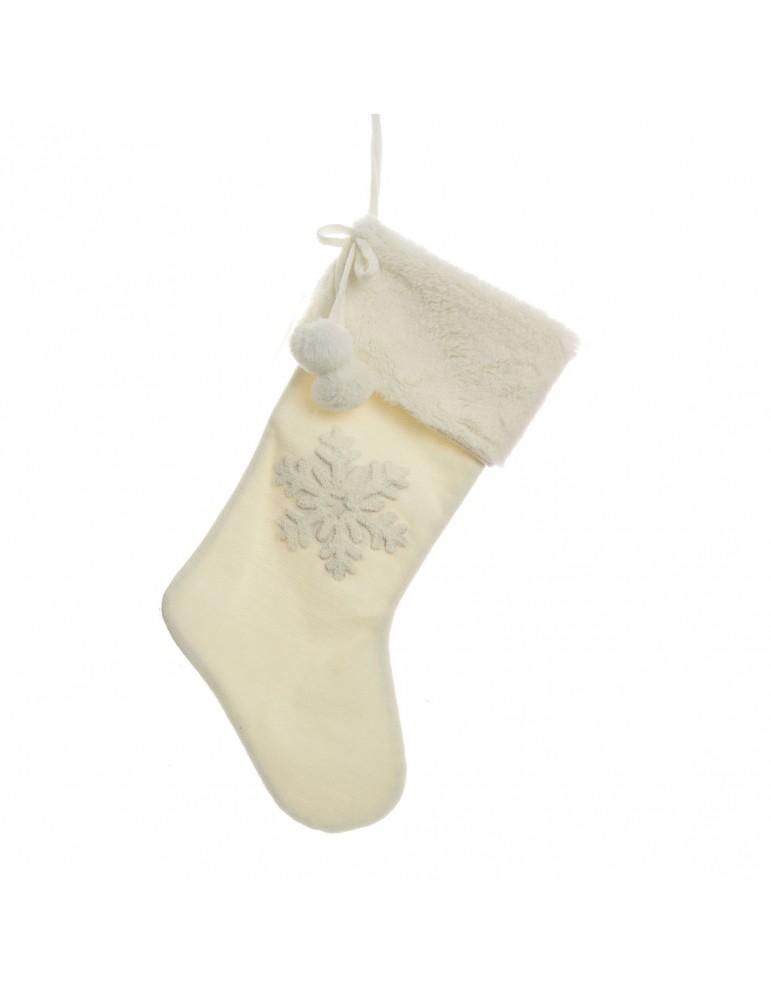 Chaussette tricot blanc à suspendre motif flocon DEO4035132