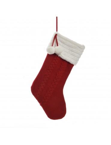 Chaussette tricot rouge et blanc à suspendre avec pompon DEO4035133