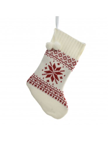 Chaussette tricot rouge à suspendre motif flocon rouge DEO4063462Decoris