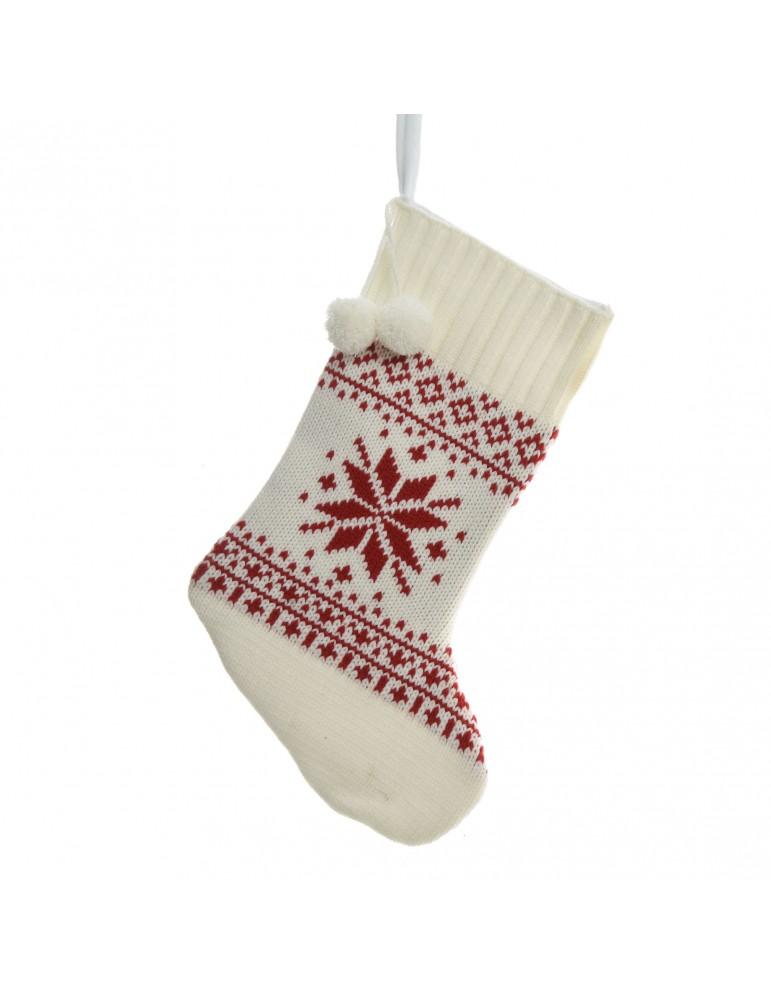 Chaussette tricot rouge à suspendre motif flocon rouge DEO4063462Decoris