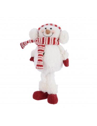 Figurine de noël à poser bonhomme de neige rouge et blanc DEO4063464Decoris