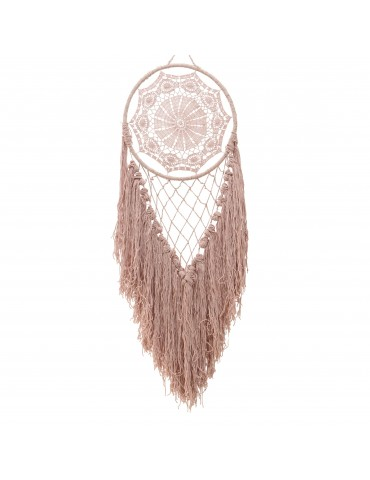 Attrape rêve franges en coton rose DMR4063482Decoris