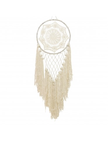 Attrape rêve franges en coton blanc DMR4035163Decoris