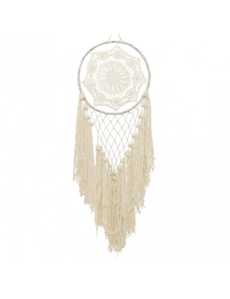 Attrape rêve franges en coton blanc DMR4035163Decoris