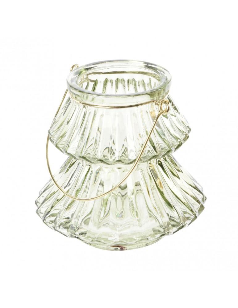 Photophore en verre vert sapin forme sapin DEO4035166Decoris