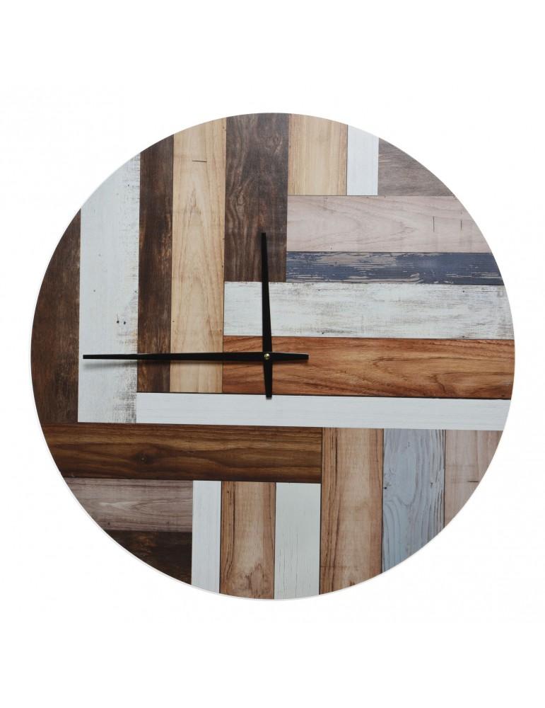 Horloge en bois effet lame de bois D.60cm DHO4063425Decoris