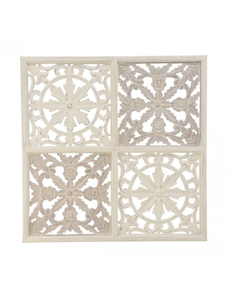 Cadre décoratif en bois blanc sculpté motif ethnique DMR4063455Decoris