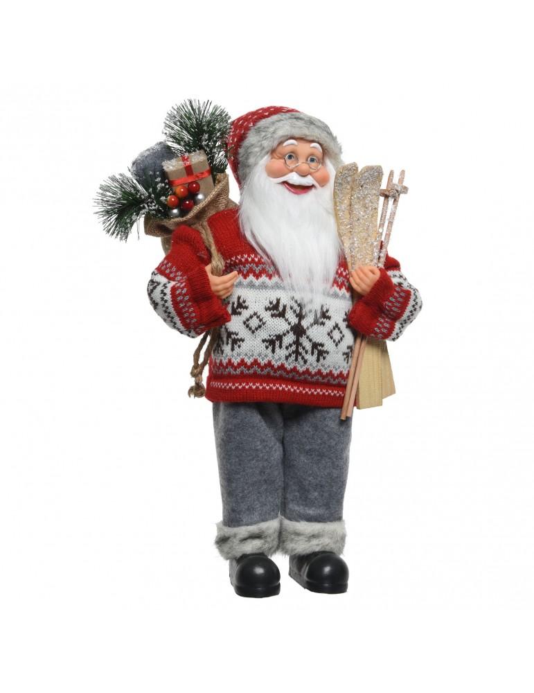 Père Noël décoratif à poser pull tricot et ski DEO4063456Decoris