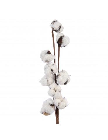 Branche artificielle de coton marron et blanc effet givré DEO4063467Decoris