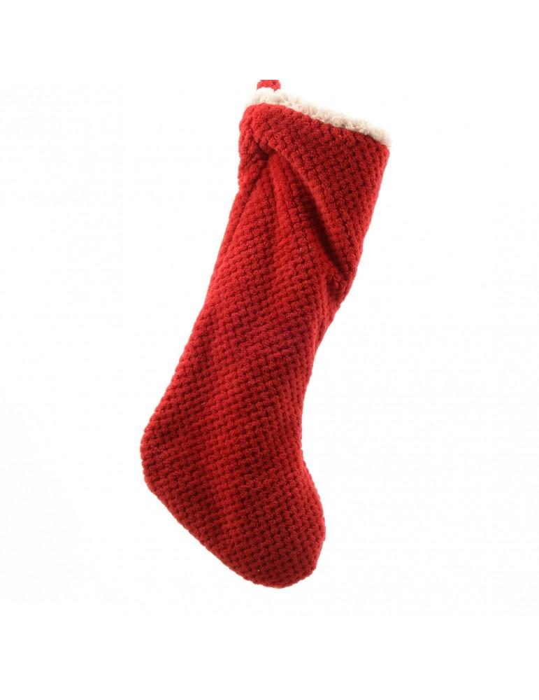 Chaussette de noël en acrylique rouge DEO4063469Decoris