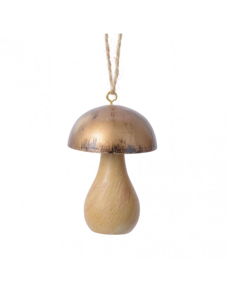 Suspension de noël forme champignon chapeau doré DEO4063445Decoris