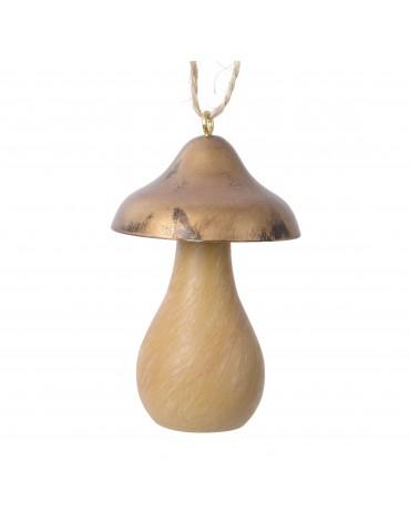 Suspension de noël forme cèpe chapeau doré DEO4035059