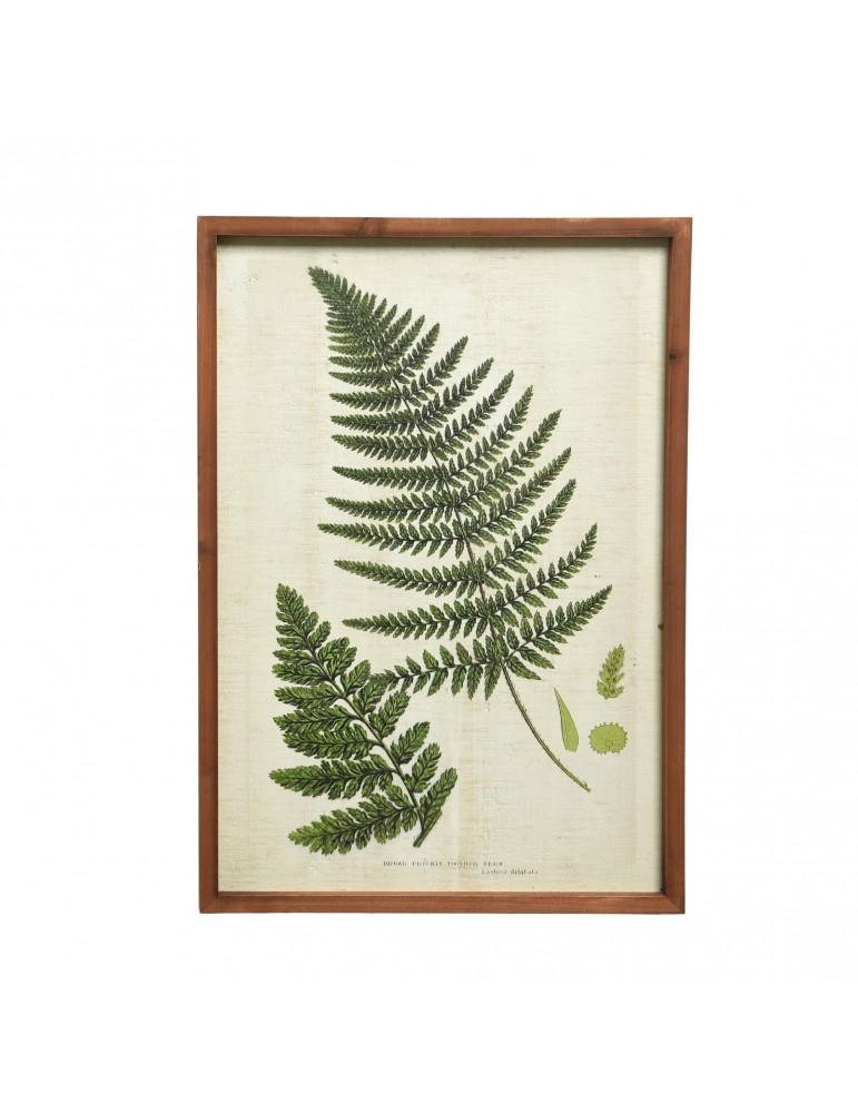 Tableau en bois vert avec fougère modèle 2 feuilles DMR4035064Decoris