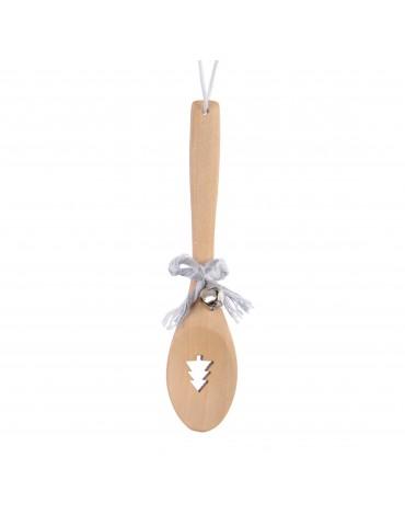 Suspension de noël forme cuillère en bois nœud et cloche sapin DEO4035066