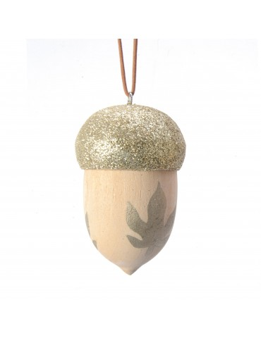 Suspension de noël forme gland en bois motif feuille DEO4063452Decoris