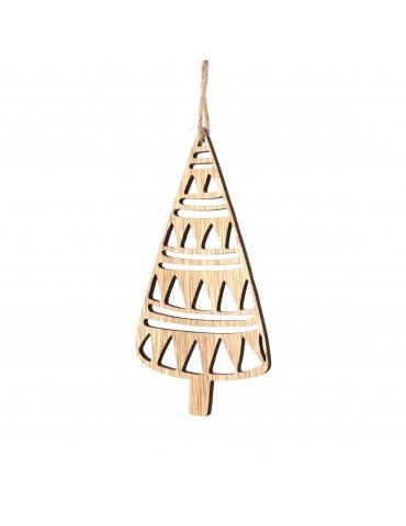 Suspension de noël forme feuille en bois contreplaqué DEO4063453Decoris
