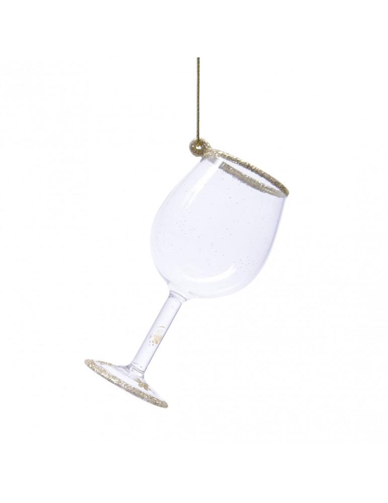 Suspension de noël en verre et paillette forme verre à vin DEO4063321Decoris