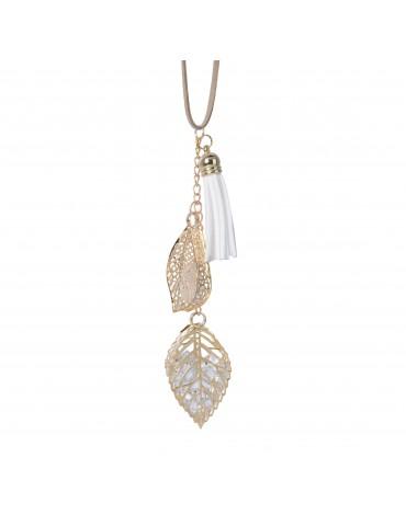 Suspension de noël jaune forme feuille perle et pompon DEO4063338Decoris