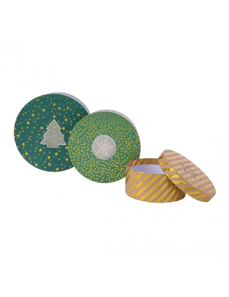Boite cadeau rond en papier motifs assortis vert/brun (Lot de 3) DEO4063340Decoris
