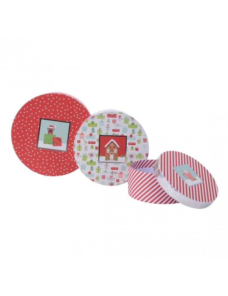 Boite cadeau rond en papier motifs assortis rouge/blanc (Lot de 3) DEO4063341Decoris