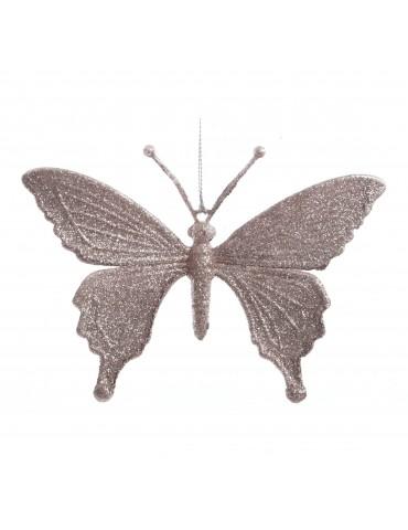 Suspension de noël violette effet pailleté forme papillon modèle 2 DEO4035038