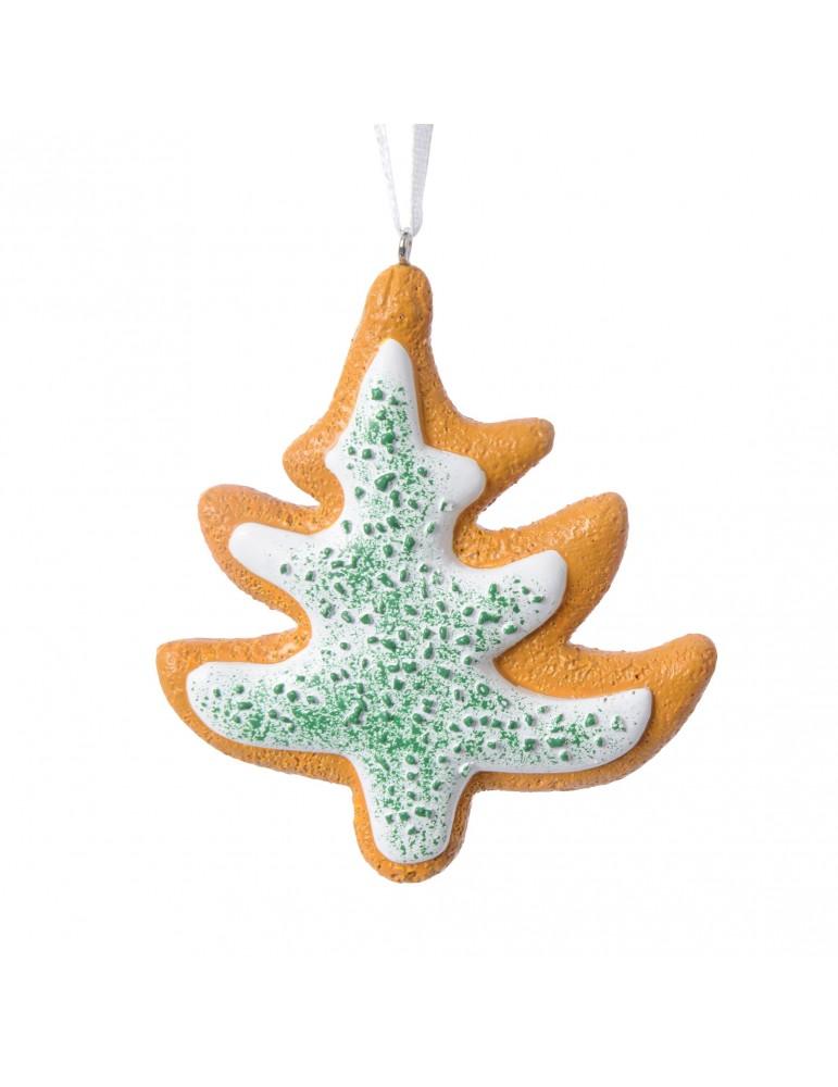 Suspension de noël marron forme sapin effet biscuit avec glaçage DEO4063349Decoris
