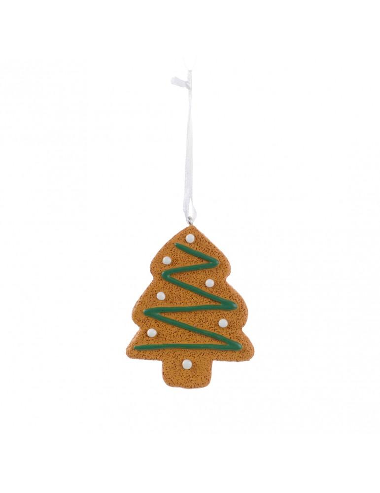 Suspension de noël marron forme flocon de neige effet pain d'épice et glaçage DEO4035041