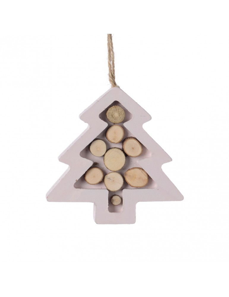 Suspension de noël rose forme sapin en bois DEO4035054