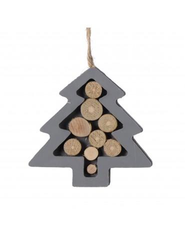 Suspension de noël argenté forme sapin en bois DEO4035055