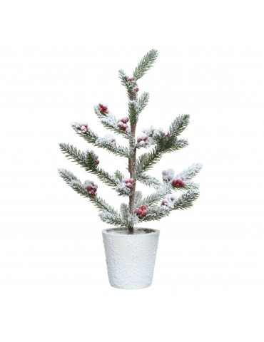 Mini sapin artificiel enneigé baie rouge en pot modèle M DNO4063558Decoris