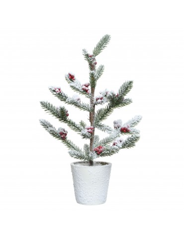 Mini sapin artificiel enneigé baie rouge en pot modèle S DNO4063559Decoris