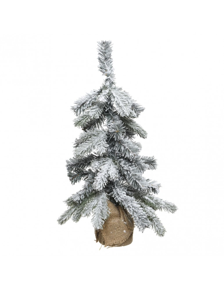 Mini sapin artificiel enneigé sac jute hauteur 35cm DNO4063556Decoris