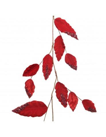 Guirlande feuille toucher velours perles et paillettes rouges DEO4063524Decoris