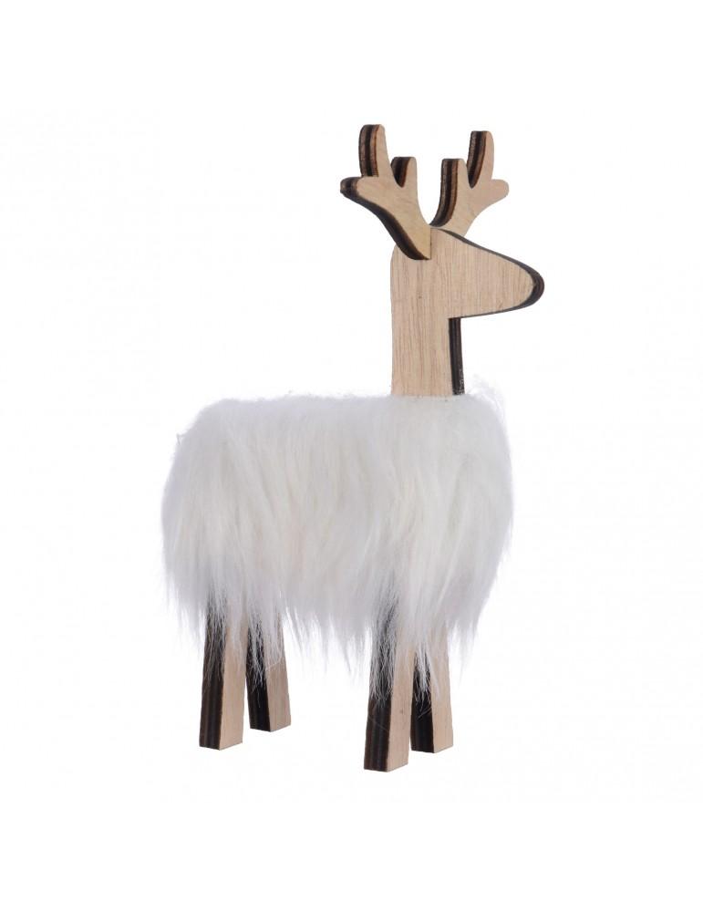 Renne blanc à fourrure décoratif à poser DEO4063521Decoris