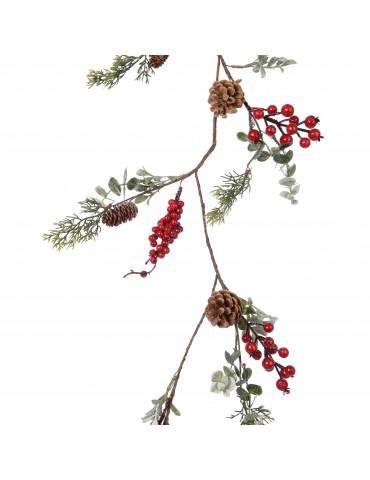 Guirlande rouge avec baies feuilles et pommes de pin DEO4063535Decoris