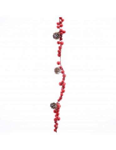 Guirlande rouge de baie rouge et pomme de pin DEO4063533Decoris