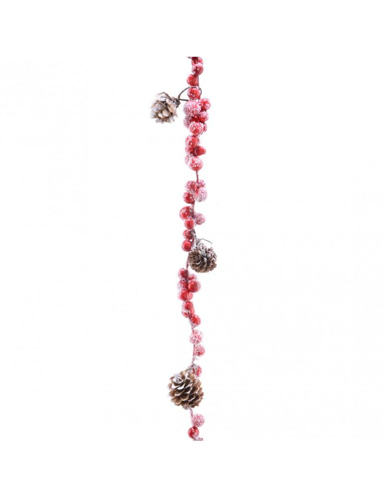 Guirlande rouge de baie rouge et pomme de pin enneigé DEO4063534Decoris
