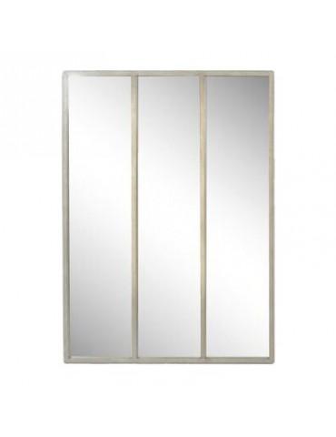 Miroir industriel en métal gris usé atelier avec 3 bandes 90x120cm DMI4119004Emde