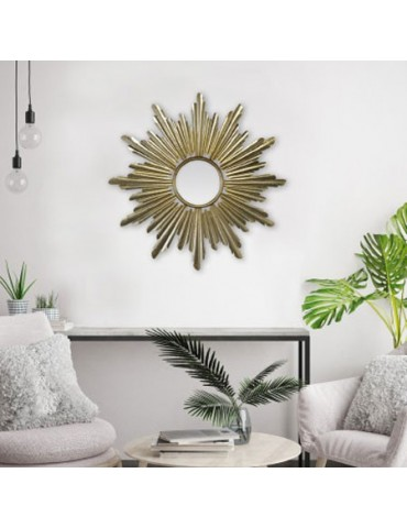 Miroir soleil en métal tubé doré diamètre 66cm DMI4119008Emde