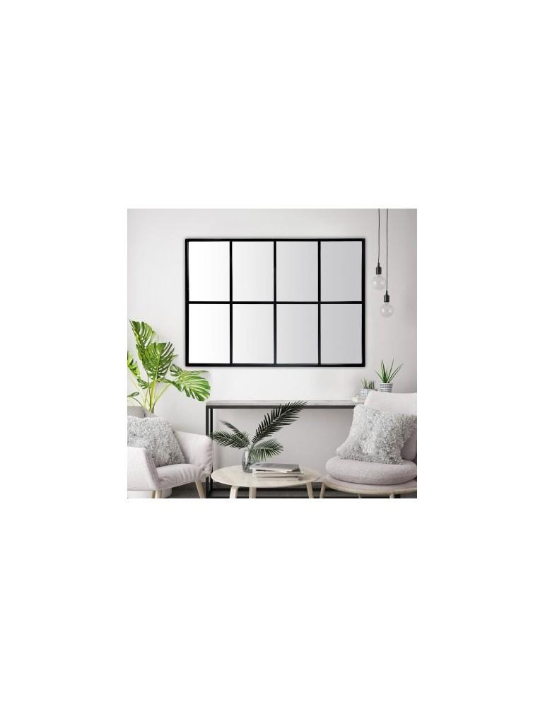 Miroir industriel en métal noir atelier avec fenêtre 8 vues 100x140cm DMI4119005Emde