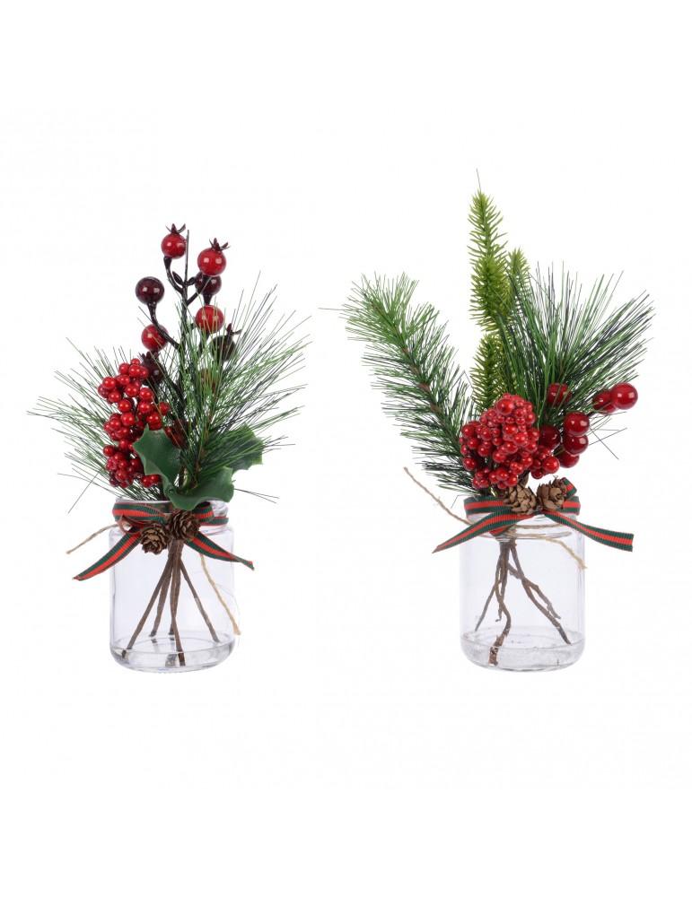 Set de 2 décorations de table baie et sapin en bocal ADE4063398Decoris