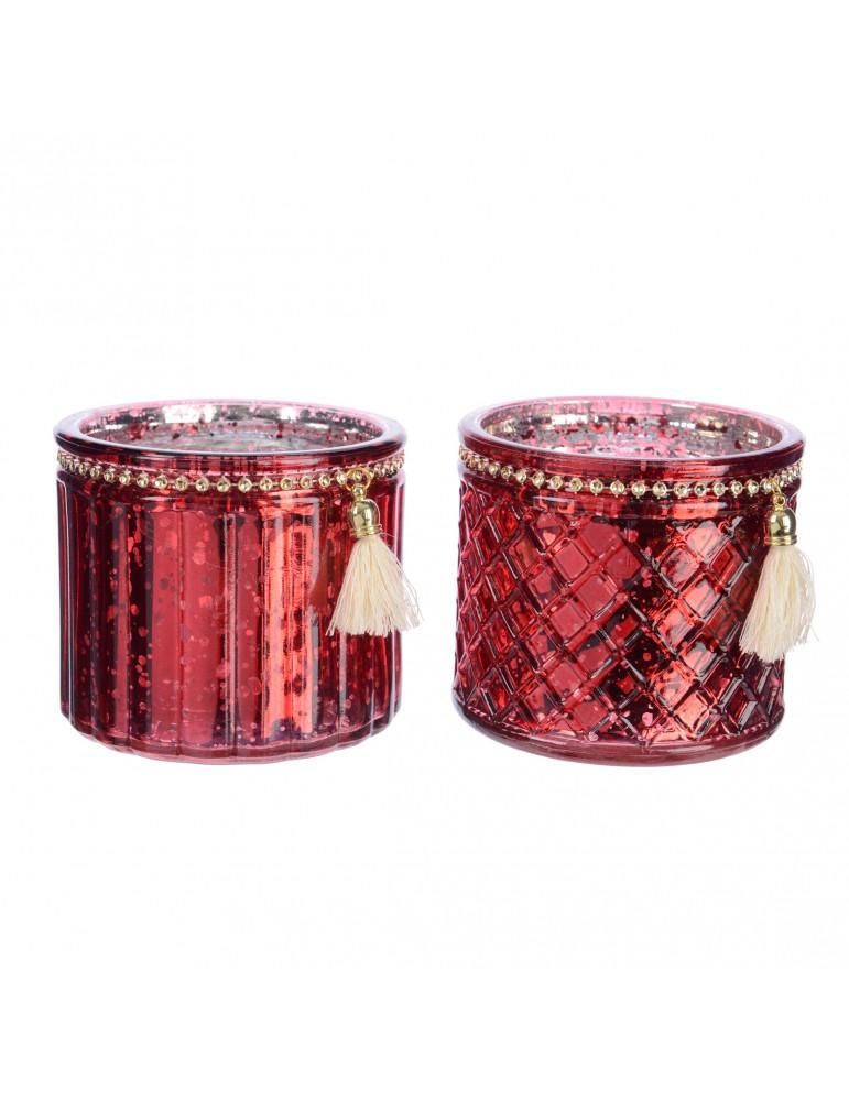 Set de 2 photophores en verre motifs assortis et pompon DEC4063402