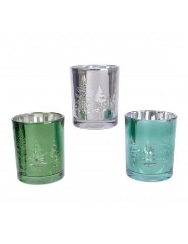 Set de 3 photophores en verre motif fougère DEC4063400