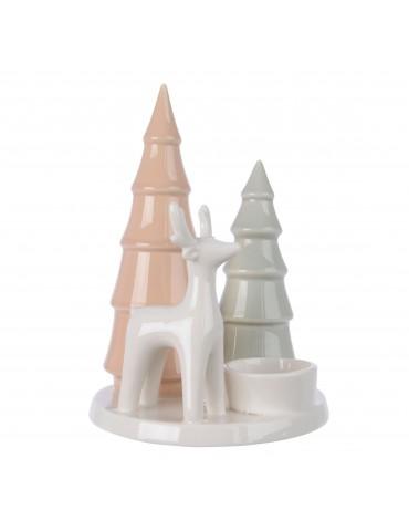 Photophore en porcelaine sapin et renne DEC4063248