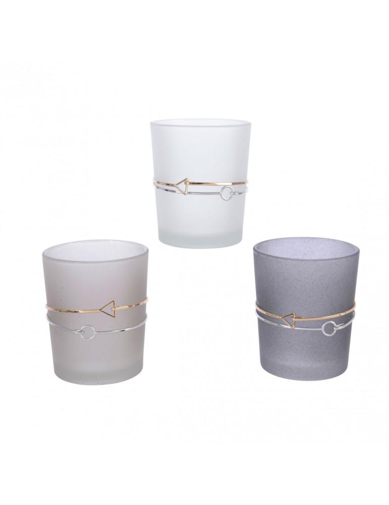 Photophore en verre gris (Lot de 3) DEC4063401