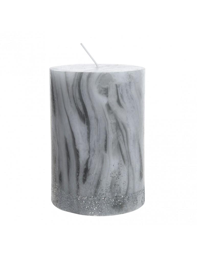 Bougie effet marbré et paillette blanc DEC4063155