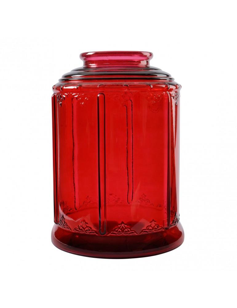 Grand photophore en verre recyclé rouge DEC4063507